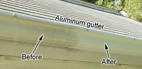 Aluminum gutter - before and after